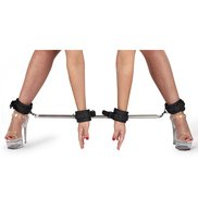 Bondara Stainless Steel Expandable Spreader Bar with Four Cuffs